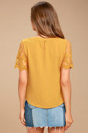 Lisa Marie Mustard Yellow Embroidered Top 3