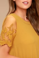 Lisa Marie Mustard Yellow Embroidered Top 4