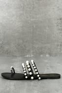Evelyn Black Pearl Slide Sandals 1