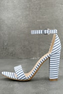 Veda Blue and White Striped Ankle Strap Heels 1