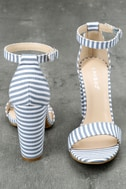 Veda Blue and White Striped Ankle Strap Heels 3