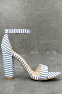 Veda Blue and White Striped Ankle Strap Heels 2