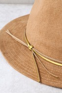 San Diego Hat Co. Seasons Tan Suede Fedora Hat 3