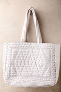 Cadence Silver and Ivory Woven Tote 2