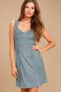 Somedays Lovin' Slate Sky Dusty Blue Suede Mini Dress 4