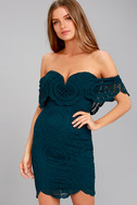 Bellissimo Teal Blue Lace Off-the-Shoulder Bodycon Dress 3