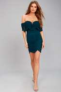 Bellissimo Teal Blue Lace Off-the-Shoulder Bodycon Dress 2