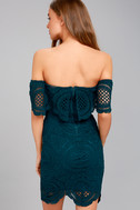 Bellissimo Teal Blue Lace Off-the-Shoulder Bodycon Dress 4