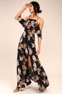 Sweet Scene Black Floral Print Maxi Dress 2