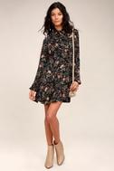 Picturesque Piece Black Floral Long Sleeve Tie-Neck Dress 1