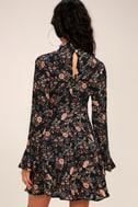 Picturesque Piece Black Floral Long Sleeve Tie-Neck Dress 3