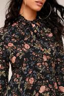Picturesque Piece Black Floral Long Sleeve Tie-Neck Dress 4