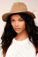 San Diego Hat Co. Seasons Tan Suede Fedora Hat 4
