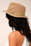 San Diego Hat Co. Seasons Tan Suede Fedora Hat 5