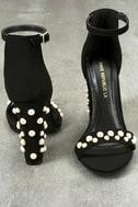 Lenore Black Nubuck Pearl Ankle Strap Heels 3