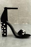 Lenore Black Nubuck Pearl Ankle Strap Heels 2