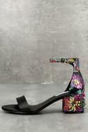 Steve Madden Inca Bright Multi Brocade Ankle Strap Heels 1