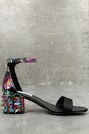 Steve Madden Inca Bright Multi Brocade Ankle Strap Heels 2