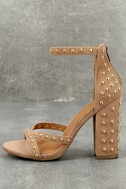 Prue Taupe Studded Suede Ankle Strap Heels 1