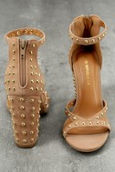 Prue Taupe Studded Suede Ankle Strap Heels 3