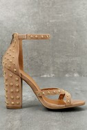 Prue Taupe Studded Suede Ankle Strap Heels 2