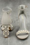 Lenore Grey Nubuck Pearl Ankle Strap Heels 4