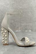 Lenore Grey Nubuck Pearl Ankle Strap Heels 3