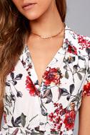 Just Fleur You White Floral Print Shirt Dress 4