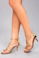 Kara Gold Patent High Heel Sandals 4
