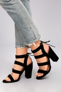 Sydney Black Suede High Heel Sandals 5