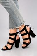 Sydney Black Suede High Heel Sandals 5