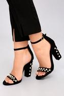 Lenore Black Nubuck Pearl Ankle Strap Heels 5