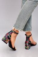 Steve Madden Inca Bright Multi Brocade Ankle Strap Heels 5