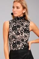 Passionate Days Nude and Black Velvet Floral Print Bodysuit 2