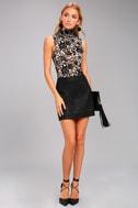 Passionate Days Nude and Black Velvet Floral Print Bodysuit 1
