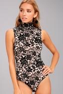 Passionate Days Nude and Black Velvet Floral Print Bodysuit 4