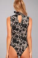 Passionate Days Nude and Black Velvet Floral Print Bodysuit 5