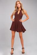 Glamorous Grace Burgundy Skater Dress 1