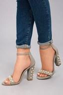 Lenore Grey Nubuck Pearl Ankle Strap Heels 5