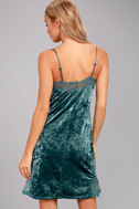 White Crow Melody Teal Blue Crushed Velvet Slip Dress 4