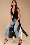 Leticia Black Lace-Up Maxi Top 2