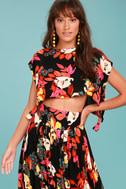Free People Sundown Black Floral Print Two-Piece Dress 2