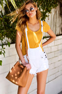 Free People Strappy White Distressed Denim Overalls 6