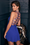 Good Deeds Royal Blue Lace-Up Dress 7