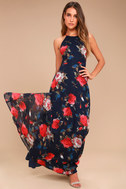 Debut Navy Blue Floral Print Lace-Up Maxi Dress 2