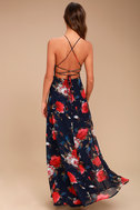 Debut Navy Blue Floral Print Lace-Up Maxi Dress 3