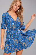 Jack by BB Dakota Hugh Blue Print Wrap Dress 2