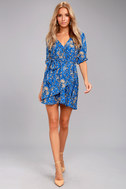 Jack by BB Dakota Hugh Blue Print Wrap Dress 1