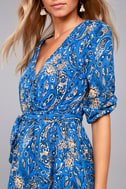 Jack by BB Dakota Hugh Blue Print Wrap Dress 4
