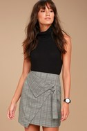 The Fifth Label City Sounds Grey Plaid Wrap Skirt 3